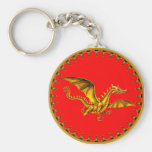 gold dragon on red basic round button key ring