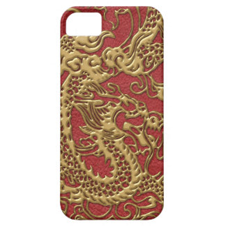 Gold Dragon on Red Leather Texture Case For The iPhone 5