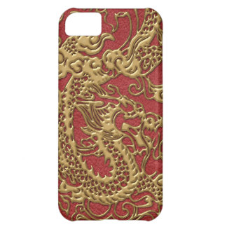 Gold Dragon on Red Leather Texture iPhone 5C Case