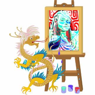 Gold Dragon paints your portrait Sculpture Standing Photo Sculpture