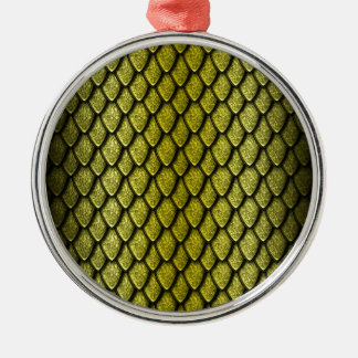 Gold Dragon Scales Round Metal Christmas Ornament