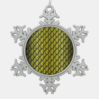 Gold Dragon Scales Pewter Snowflake Decoration