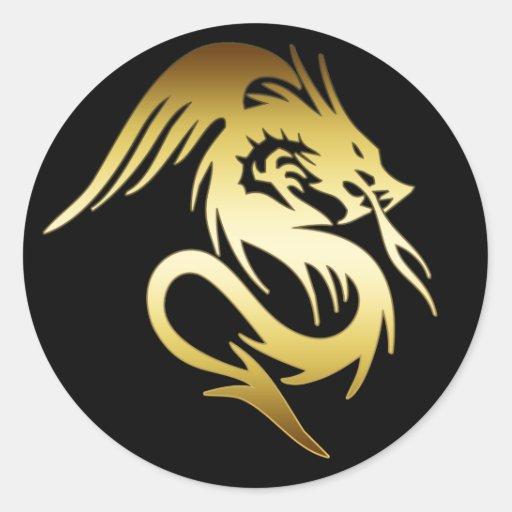 GOLD DRAGON ROUND STICKERS