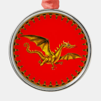 gold dragon with red background christmas ornament