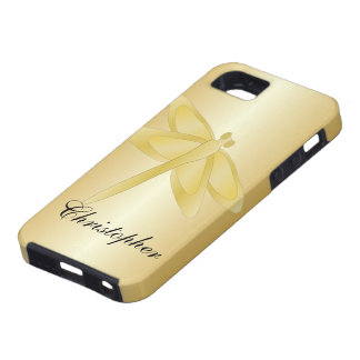 Gold Dragonfly Just Add Name iPhone 5 Covers