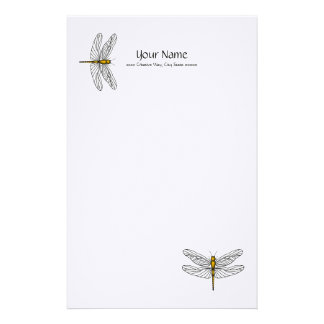 Gold Dragonfly Linen Stationary Stationery