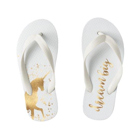 Gold Dream Unicorn Kid's Flip Flops