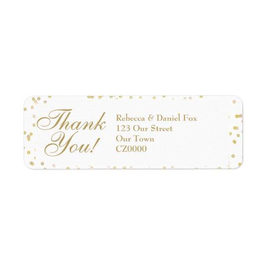 Gold Dust Confetti Wedding Thank You Return Address Label