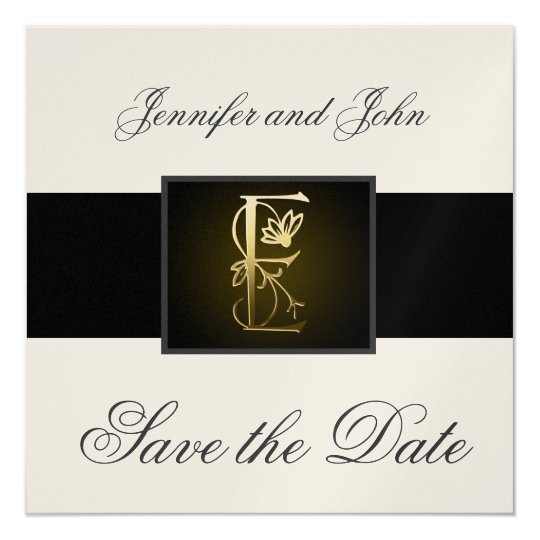 Gold E Monogram Save the Date Wedding Announcement