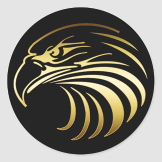 GOLD EAGLE HEAD ROUND STICKERS