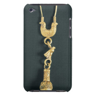 Gold earring with drop-shaped pendant in the form iPod touch cover