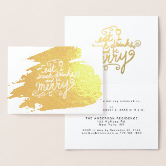 Gold Eat, Drink and Be Merry Holiday Party Invite
