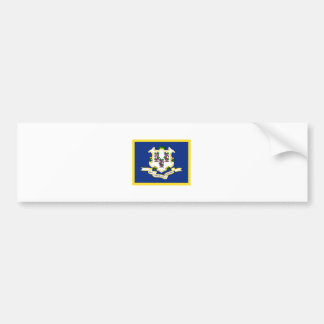 Gold Edge Connecticut Flag Bumper Sticker