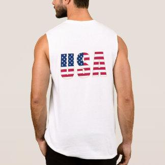 Gold-Edged USA Flag (front and back) Men's Sleeveless Shirt