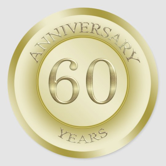 Gold effect 60th Anniversary Sticker