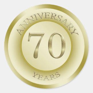 Gold effect 70th Wedding Anniversary Sticker Round Stickers