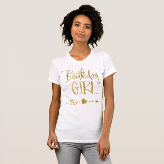 Gold Effect Birthday Girl White T-Shirts