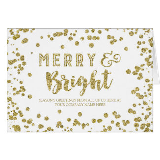 Gold Effect Business Merry & Bright Christmas Card