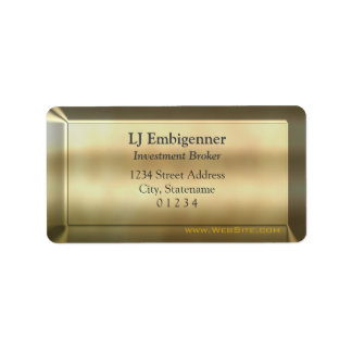 Gold-effect Investment Broker luxury Address Label
