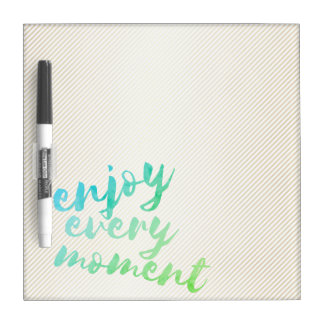 Gold Effect Stripes Green Watercolor Typography Dry Erase Board