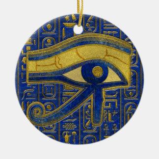 Gold Egyptian Eye of Horus - Wadjet Lapis Lazuli Christmas Ornament