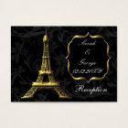 Gold Eiffel tower French Wedding reception Business Card