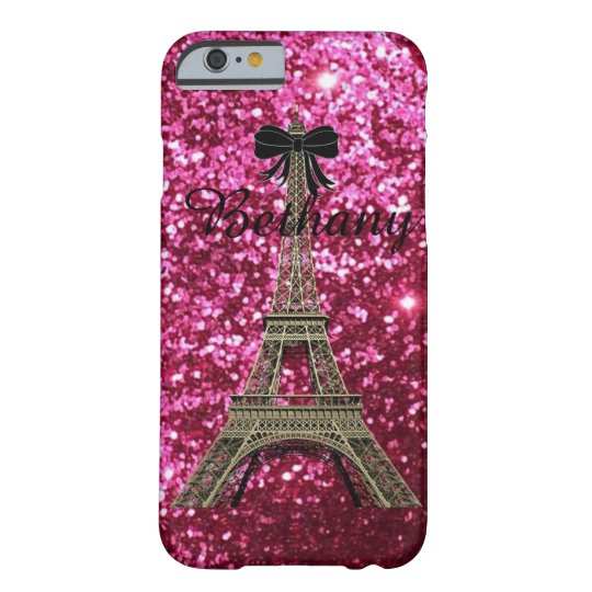 Gold Eiffel Tower on Shiny Pink iPhone 6