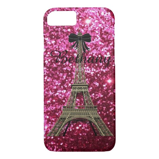 Gold Eiffel Tower on Shiny Pink iPhone 7