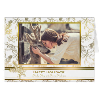 Gold Elegance Engraved Holly Custom Photo Card