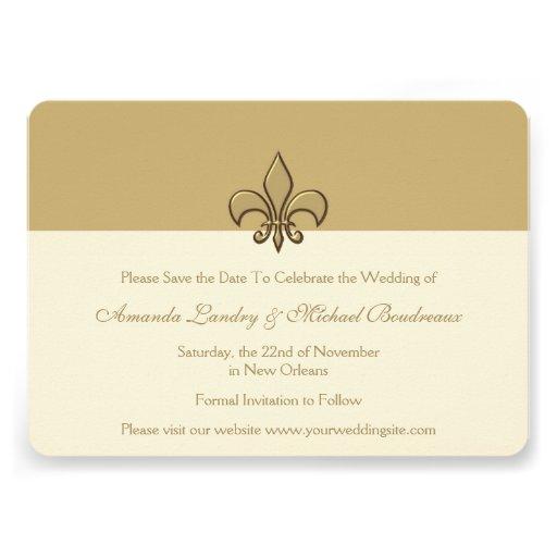 Gold Elegance Fleur de Lis Save the Date Invitations