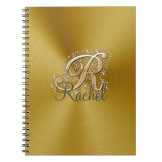 Gold elegant diamonds monogram Notebook