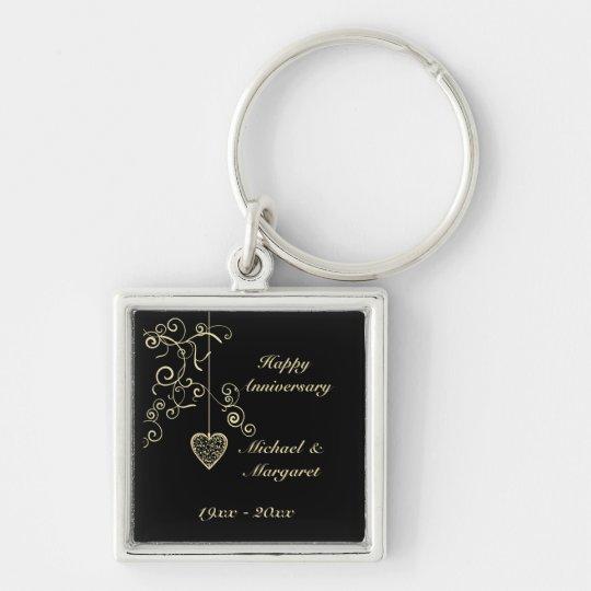 Gold Elegant Heart Wedding Anniversary Keychain