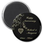 Gold Elegant Heart Wedding Anniversary Magnet