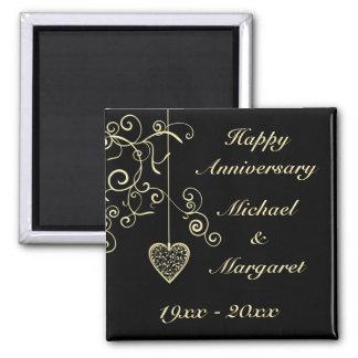 Gold Elegant Heart Wedding Anniversary Square Magnet