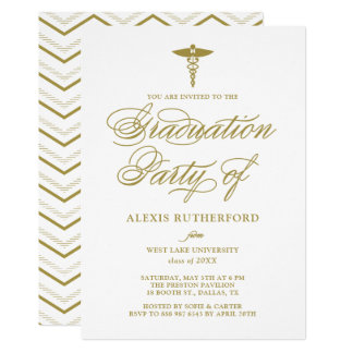 Gold Elegant Script Medical School Graduation Card