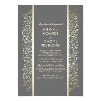 Gold Elegant Vintage Baby's Breath Wedding Card