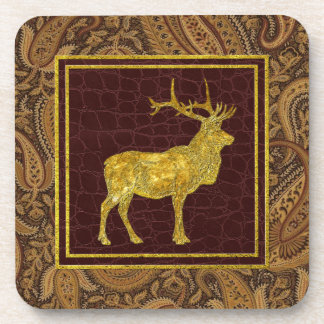 Gold Elk Paisley and Leather Patterns Beverage Coasters