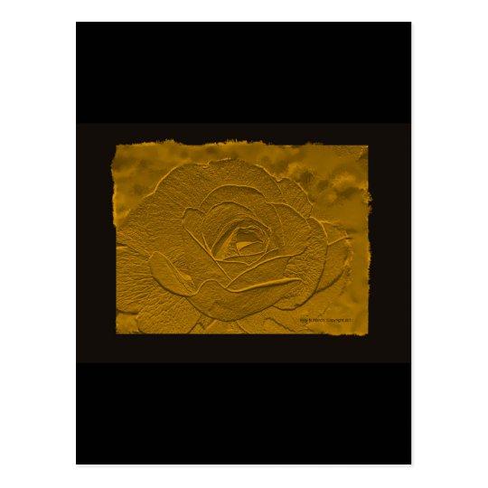 Gold Emboss Look  Rose Postcard