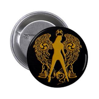 Gold Emboss Serpent Angel Button