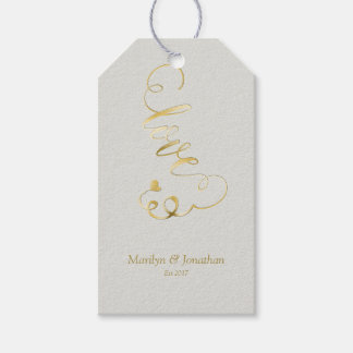 Gold Embossed-effect LOVE Script Wedding Gift Tags