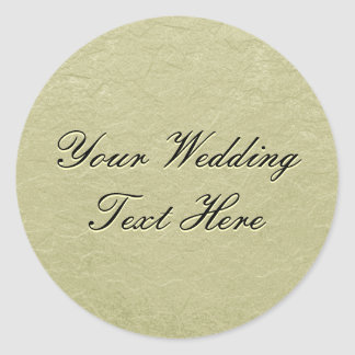 Gold Embossed Look Wedding Seal Round Sticker