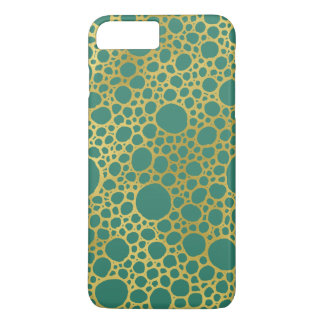 Gold Emerald Green Circles Pattern iPhone 7 Case