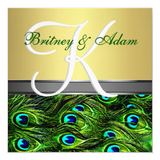 Gold & Emerald Green Peacock Wedding Invitations