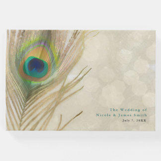 Gold Exotic Peacock Feather Elegant Wedding Guest Book