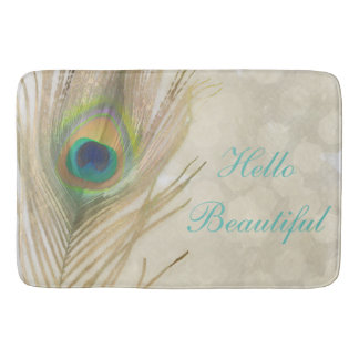 Gold Exotic Peacock Feather Glam Elegant Chic Bath Mat