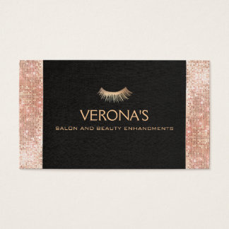 Gold Eyelash Faux Sequins Business Card