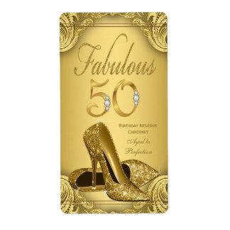Gold Fabulous 50 Wine Bottle Labels