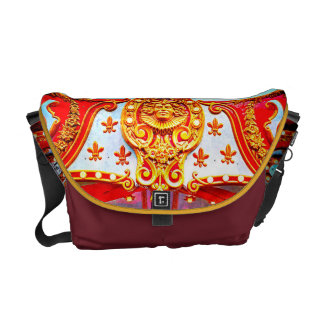 Gold face on sparkly carousel photo messenger bag