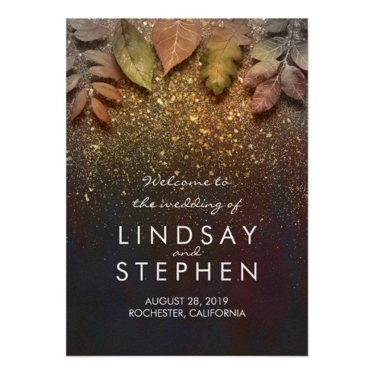 Gold Fall Leaves Glitter Wedding Welcome Sign
