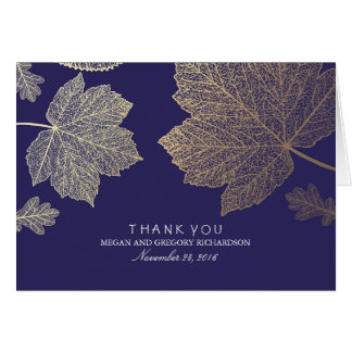 Gold Fall Leaves Navy Wedding Thank You Card